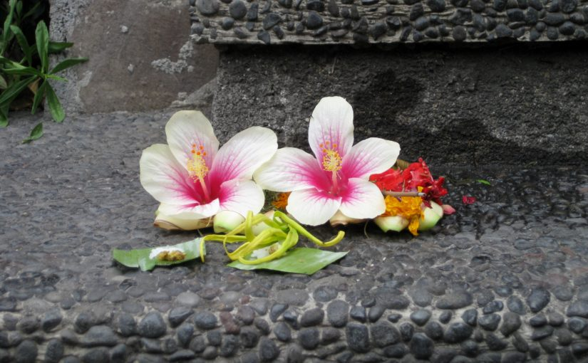 Flowers left as an offering to a Ganesh statue in Bali