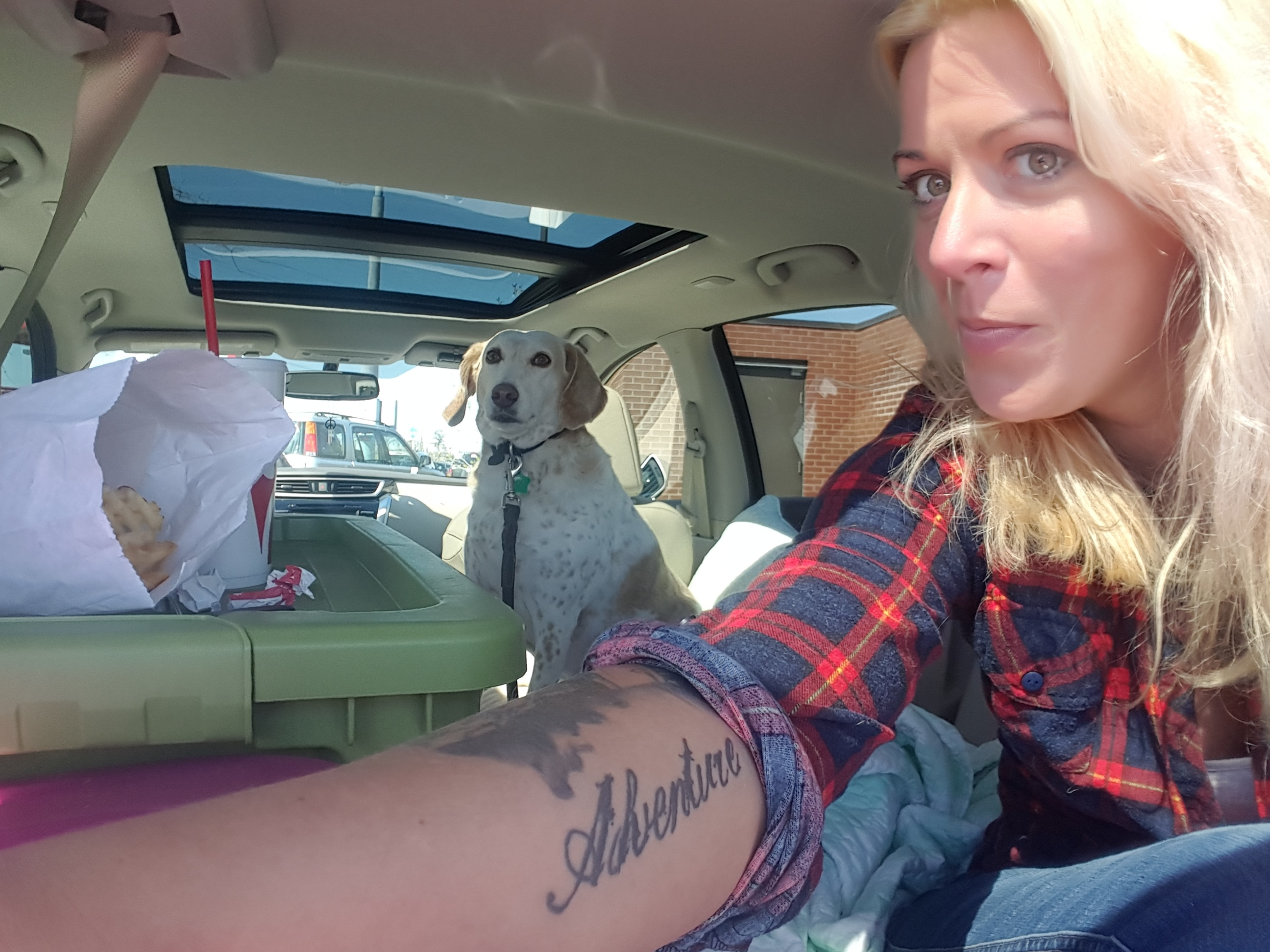 We had quite a few picnics in the back of the car. Can you tell she full expects me to share my french fries with her?