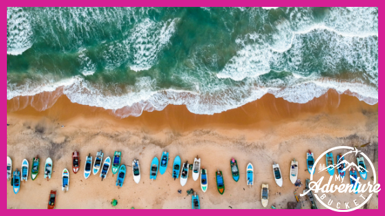 Aerial view of boats on Arugam Bay Sri Lanka