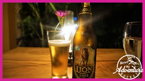 Lion beer and glass